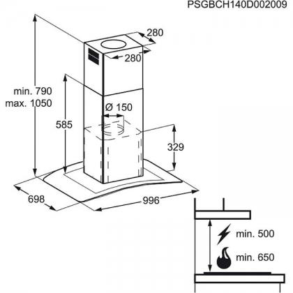 Hota insula Electrolux EFL10965OX, 100 cm, inox + sticla, conectivitate plita