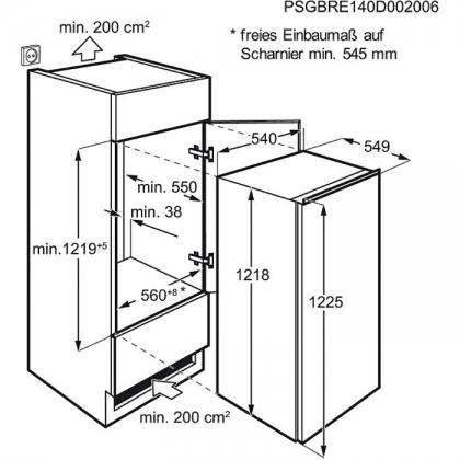 Frigider incorporabil cu o usa Electrolux ERN2201AOW, 54 cm, clasa A+