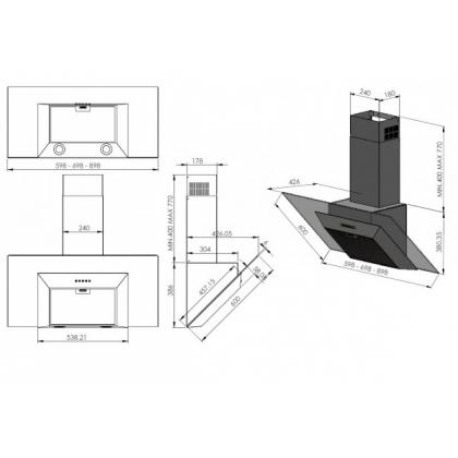 Hota de perete Pyramis KA160, 60 cm, sticla neagra