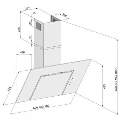 Hota de perete Pyramis SQUARE Sticla Neagra 3423, 60 cm