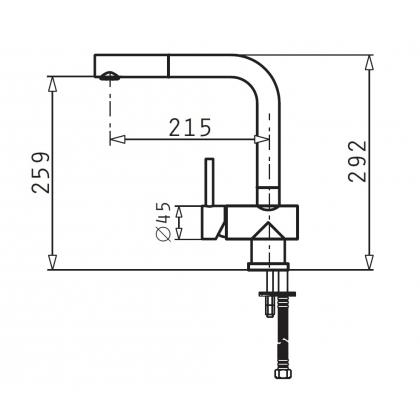 Baterie de bucatarie Pyramis Capriccio, inox, extactabil