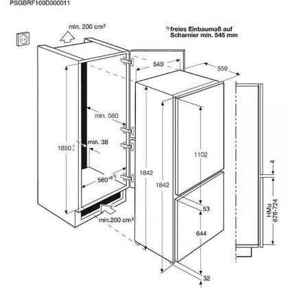 Combina frigorifica incorporabila No Frost Electrolux ENN3153AOW, 54 cm, clasa A+