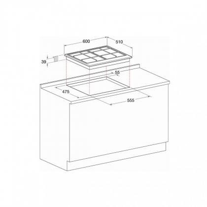 Plita incorporabila pe gaz Hotpoint PC 640 T AX /HA, 60 cm, wok, inox antizgarieturi
