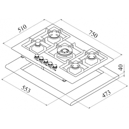 Plita incorporabila pe gaz Teka EFX 70 5G AI AL DR CI, 75 cm, inox, wok, fonta