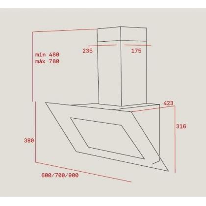 Hota de perete Teka DVT 685 alba, 60 cm