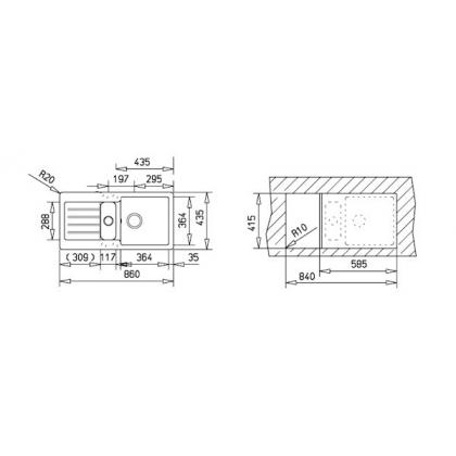 Chiuveta de bucatarie Teka Kea 60B TG 1 1/2B 1D, Schwarzmetallic, 86 cm latime