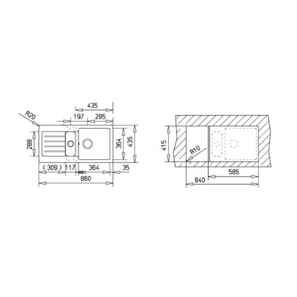 Chiuveta de bucatarie Teka Kea 60B TG 1 1/2B 1D, Topasbeige, 86 cm latime