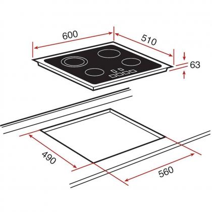 Plita incorporabila vitroceramica Teka TB 600, 60 cm, Touch Control