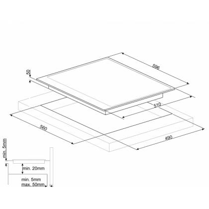 Plita incorporabila inductie Smeg Victoria PI964B, 60 cm, rama alba, retro