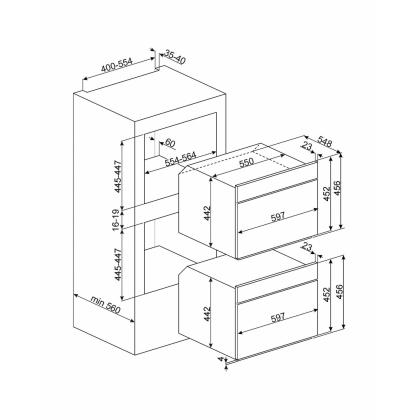 Cuptor incorporabil compact cu microunde Smeg Colonial SF4800MA, antracit cu estetica aurie, 60 cm, retro