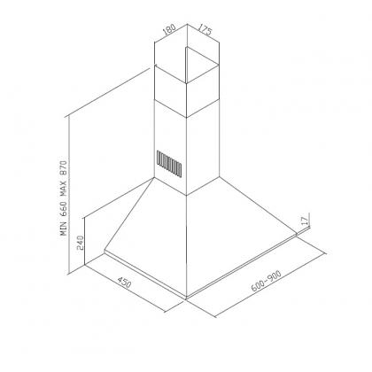Hota semineu Pyramis Square Chimney CH105E, 60 cm, inox