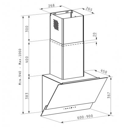 Hota de perete Pyramis LIVELO, 60 cm, touch control, absorbtie periferica, sticla neagra