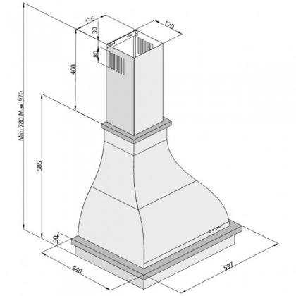 Hota semineu Pyramis RUSTIC CHIMNEY 2238SL, 60cm, bej