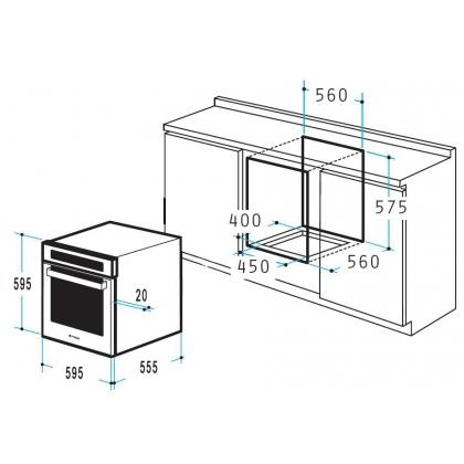 Cuptor incorporabil electric Pyramis 60IN 6081, inox, afisaj LCD, 9 functii