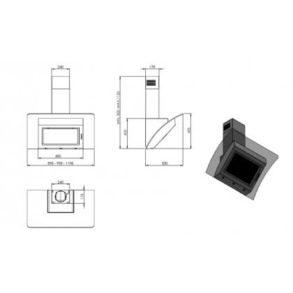Hota de perete Pyramis Design MAGICO, 90 cm, sticla