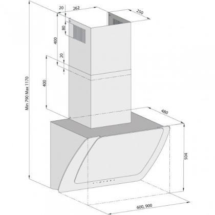 Hota de perete Pyramis MISTERO, 90cm, sticla neagra, touch control