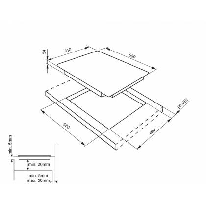 Plita incorporabila inductie Smeg SIM562B, 60 cm, Booster, Multizone