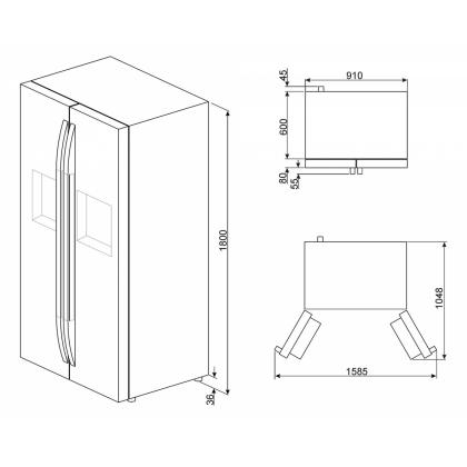 Frigider Side by Side Smeg SBS63XEDH, 90 cm, inox, No Frost, clasa A+, Ice Maker, Homebar