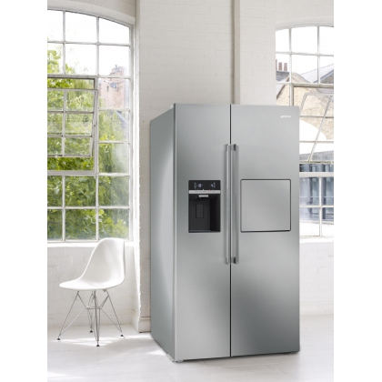 Frigider Side by Side Smeg SBS63XEDH, 90 cm, inox, No Frost, clasa A+, Ice Maker, Homebar