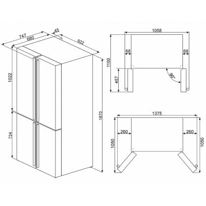 Frigider Side by Side cu 4 usi Smeg Colonial FQ60CPO, 90 cm, crem cu estetica alama, No Frost, clasa A+