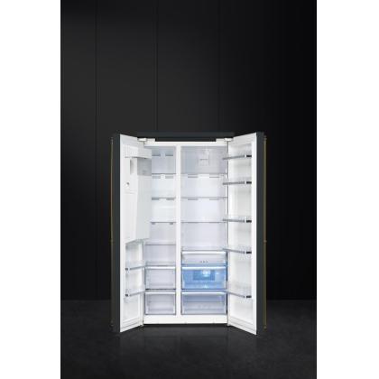 Frigider Side by Side Smeg Colonial SBS8004AO, 90 cm, antracit cu estetica alama, No Frost, clasa A+