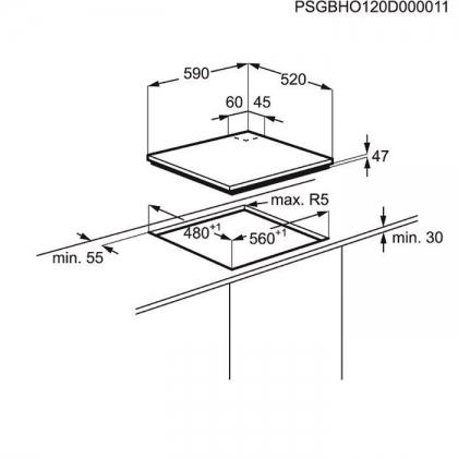 Plita incorporabila vitroceramica pe gaz Electrolux EGT6342YOK, 60 cm, gratare fonta