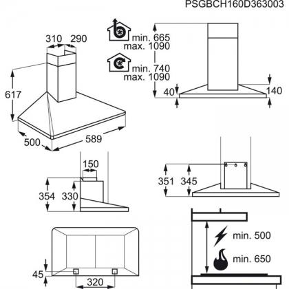 Hota semineu Electrolux EFF60560OX, 60 cm, inox, conectivitate plita