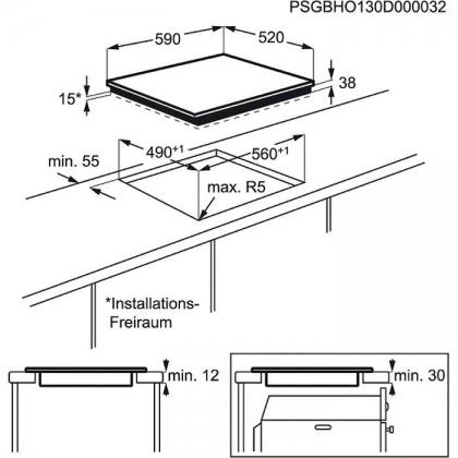 Plita incorporabila vitroceramica Electrolux EHF6547FXK, 60 cm, touch control, Stop&Go