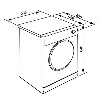 Uscator de rufe Smeg DHT83LIN, 8 kg, 16 programe, A+++, ecran LCD, inverter