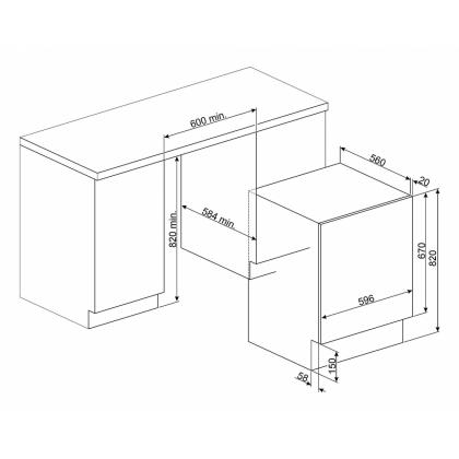 Masina de spalat rufe cu uscator incorporabila Smeg LSTA147, 7+4 kg