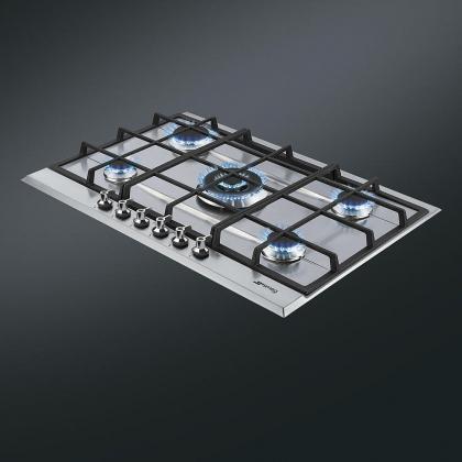 Plita incorporabila pe gaz Smeg Linea P372XGH, 70 cm, inox, fonta, Wok