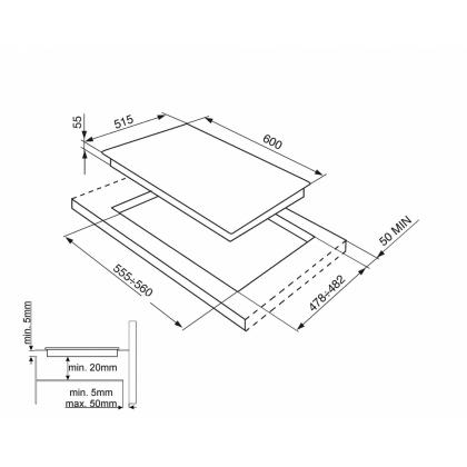 Plita incorporabila inductie Smeg SI5643B, 60 cm, Booster