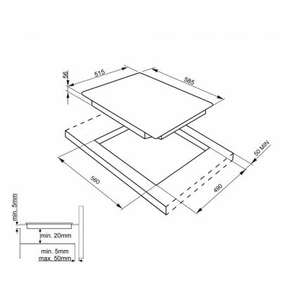 Plita incorporabila inductie Smeg SIM562FX, 60 cm, 2 zone Multizone, Booster