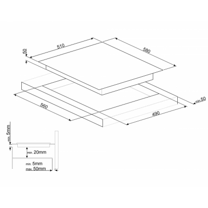 Plita incorporabila inductie Smeg SI5644B, 60 cm, Booster