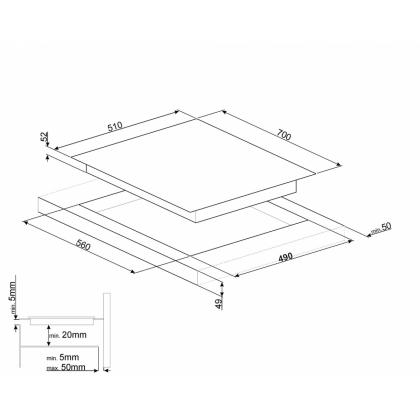 Plita incorporabila inductie Smeg SIM570B, 70 cm, Multizone, Booster