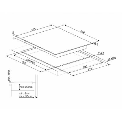 Plita incorporabila inductie Smeg SI5641B, 60 cm, Booster
