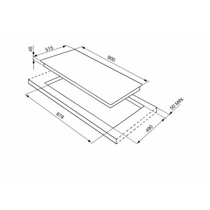 Plita incorporabila inductie Smeg SI5952B, 90 cm, Booster