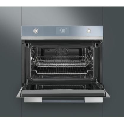Cuptor incorporabil compact combinat Smeg Linea SF4120MC, inox, electric si microunde, Vapor Clean