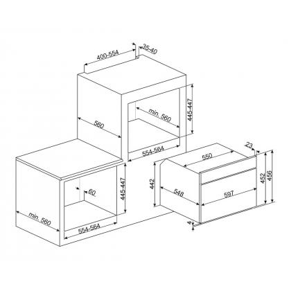 Cuptor incorporabil compact cu microunde si grill Smeg Cortina SF4750MAO, antracit cu estetica alama