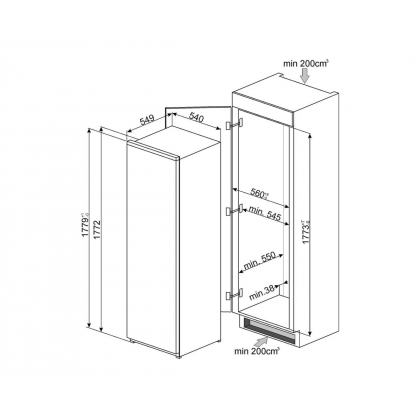 Frigider incorporabil cu o usa Smeg S7323LFEP, clasa A+, ventilat