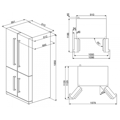 Frigider Side by Side cu 4 usi Smeg FQ75XPED, 90 cm, inox, No Frost, clasa A+, Multizone