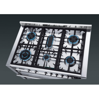 Masina de gatit mixta Smeg Opera A1-7, 90 cm, inox, 9 functii, wok, fonta