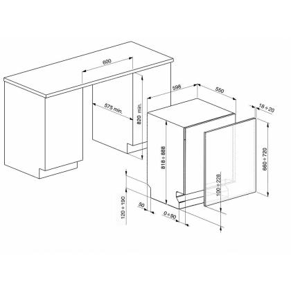 Masina de spalat vase complet incorporabila Smeg ST322, 60 cm, 5 programe