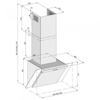 Hota de perete Pyramis SILVER 3283, 90 cm, 537mc/h, Inox si sticla neagra