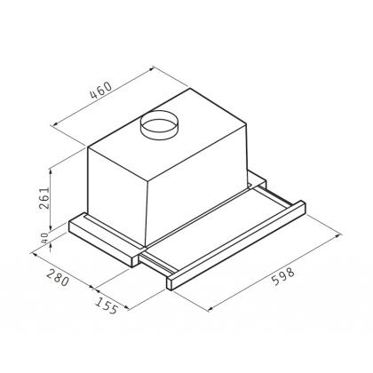 Hota incorporabila telescopica Pyramis Eliteline 60 cm, alba