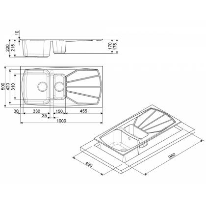 Chiuveta de bucatarie Smeg LSE1015A-2, 100 cm, antracit