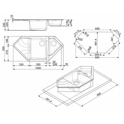 Chiuveta de bucatarie Smeg LSEC102A-2, 100 cm, antracit