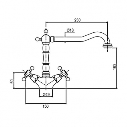 Baterie de bucatarie Pyramis Smartline MAYFAIR Bronz, dubla comanda, finisaj antichizat