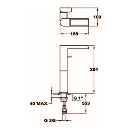 Baterie lavoar Teka FORMENTERA, 62.311.02.00, monocomanda, crom, gat inalt
