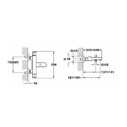Baterie cada & dus termostatata Teka FORMENTERA, 62.101.02.00, monocomanda, crom